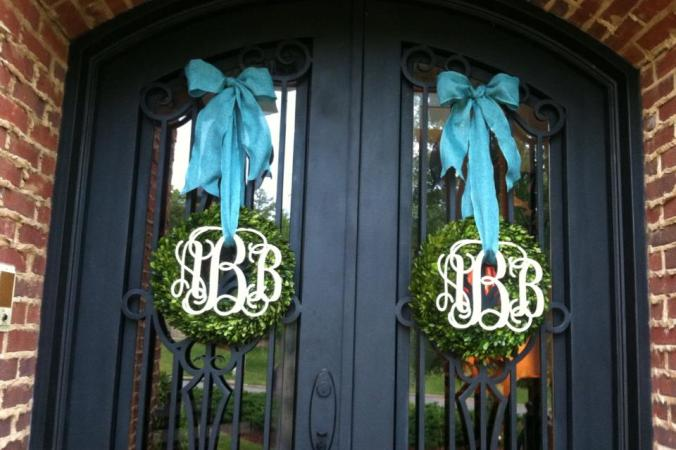 Double Doors with Boxwood Wreaths 12 in
